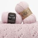 DROPS Kid-Silk 3, rosado claro + DROPS Alpaca 3112, rosado polvo